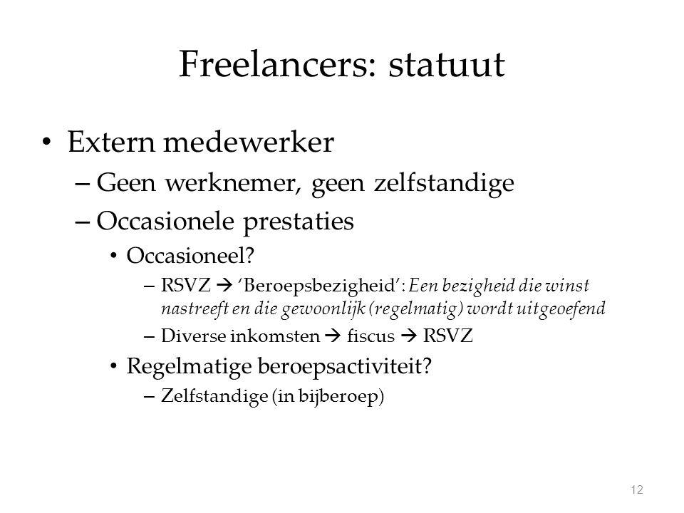 Freelancers: statuut Extern medewerker – Geen werknemer, geen zelfstandige – Occasionele prestaties Occasioneel.
