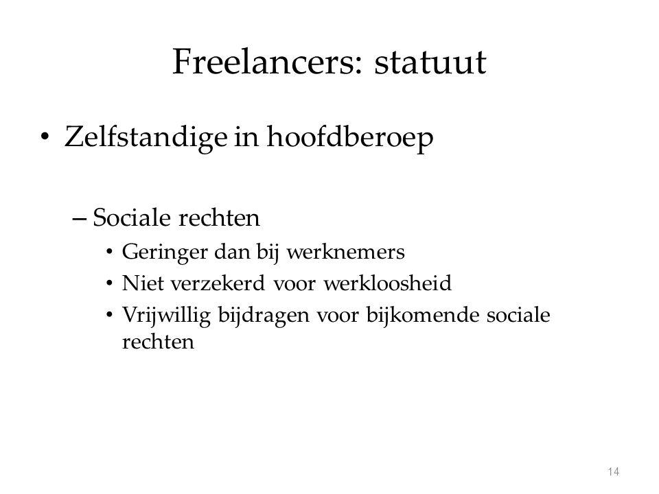 Freelancers: statuut Zelfstandige in hoofdberoep – Sociale rechten Geringer dan bij werknemers Niet verzekerd voor werkloosheid Vrijwillig bijdragen voor bijkomende sociale rechten 14