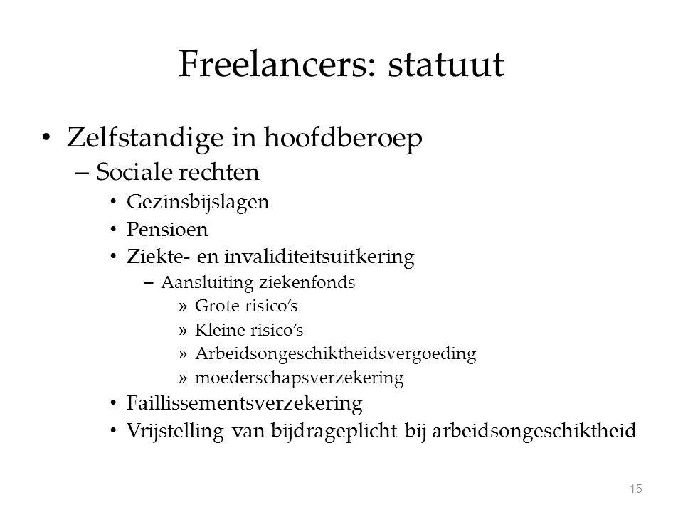 Freelancers: statuut Zelfstandige in hoofdberoep – Sociale rechten Gezinsbijslagen Pensioen Ziekte- en invaliditeitsuitkering – Aansluiting ziekenfond