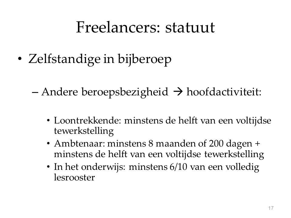 Freelancers: statuut Zelfstandige in bijberoep – Andere beroepsbezigheid  hoofdactiviteit: Loontrekkende: minstens de helft van een voltijdse tewerks