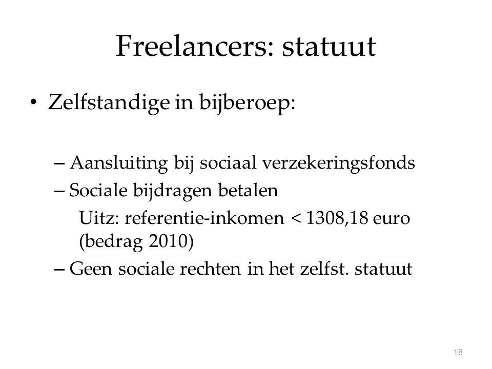 Freelancers: statuut Zelfstandige in bijberoep: – Aansluiting bij sociaal verzekeringsfonds – Sociale bijdragen betalen Uitz: referentie-inkomen < 1308,18 euro (bedrag 2010) – Geen sociale rechten in het zelfst.