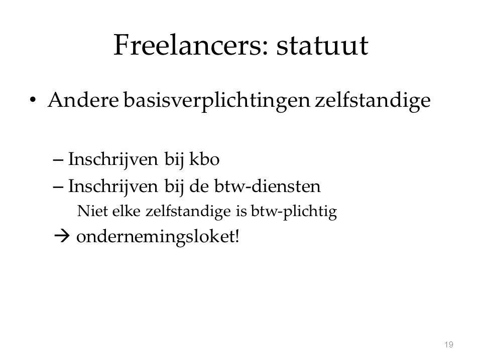 Freelancers: statuut Andere basisverplichtingen zelfstandige – Inschrijven bij kbo – Inschrijven bij de btw-diensten Niet elke zelfstandige is btw-plichtig  ondernemingsloket.