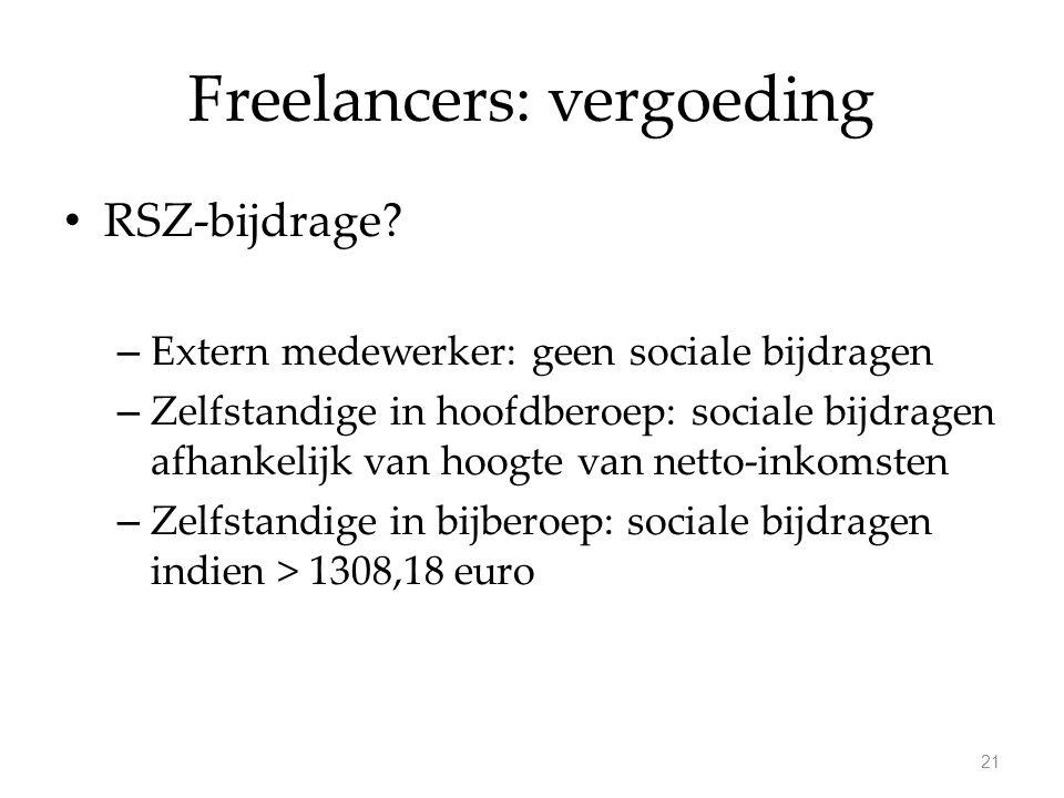 Freelancers: vergoeding RSZ-bijdrage? – Extern medewerker: geen sociale bijdragen – Zelfstandige in hoofdberoep: sociale bijdragen afhankelijk van hoo