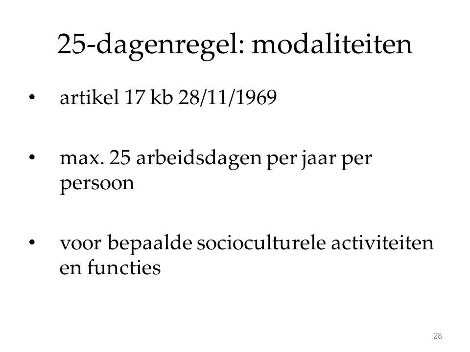 25-dagenregel: modaliteiten artikel 17 kb 28/11/1969 max. 25 arbeidsdagen per jaar per persoon voor bepaalde socioculturele activiteiten en functies 2