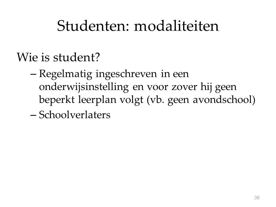 Studenten: modaliteiten Wie is student? – Regelmatig ingeschreven in een onderwijsinstelling en voor zover hij geen beperkt leerplan volgt (vb. geen a