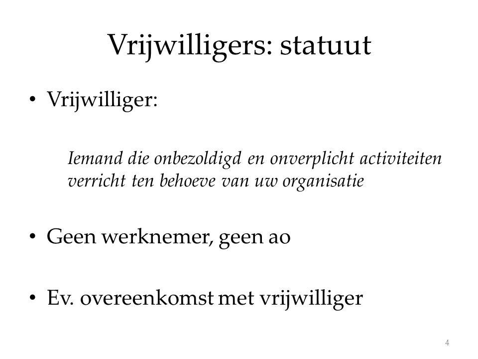 Vrijwilligers: statuut Vrijwilliger: Iemand die onbezoldigd en onverplicht activiteiten verricht ten behoeve van uw organisatie Geen werknemer, geen a