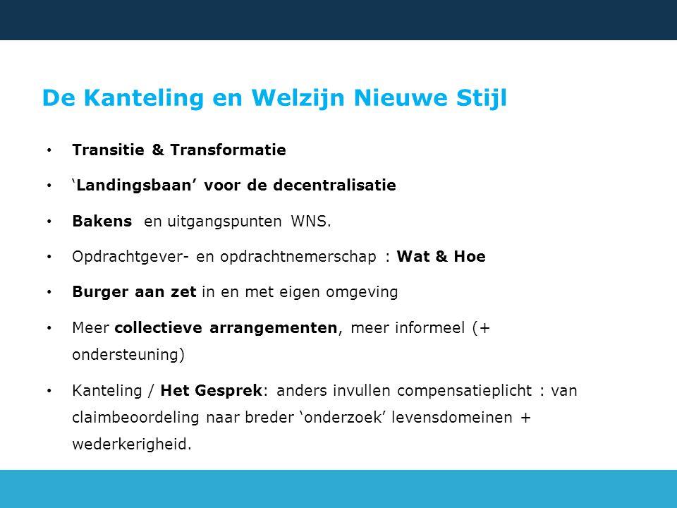 De Kanteling en Welzijn Nieuwe Stijl Transitie & Transformatie 'Landingsbaan' voor de decentralisatie Bakens en uitgangspunten WNS. Opdrachtgever- en