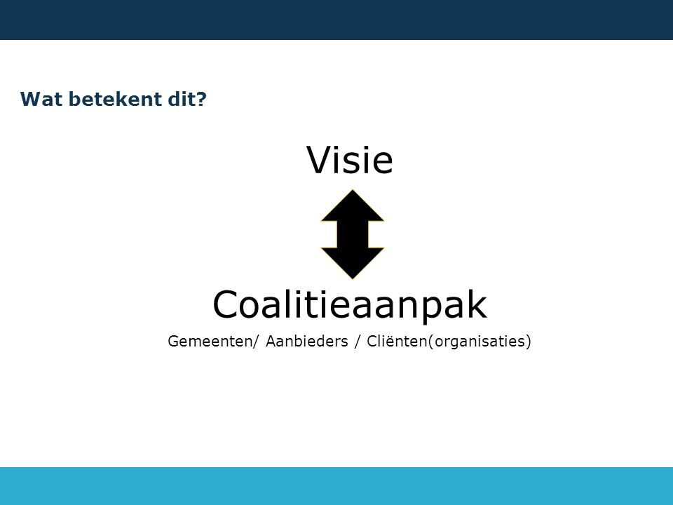 Wat betekent dit? Visie Coalitieaanpak Gemeenten/ Aanbieders / Cliënten(organisaties)