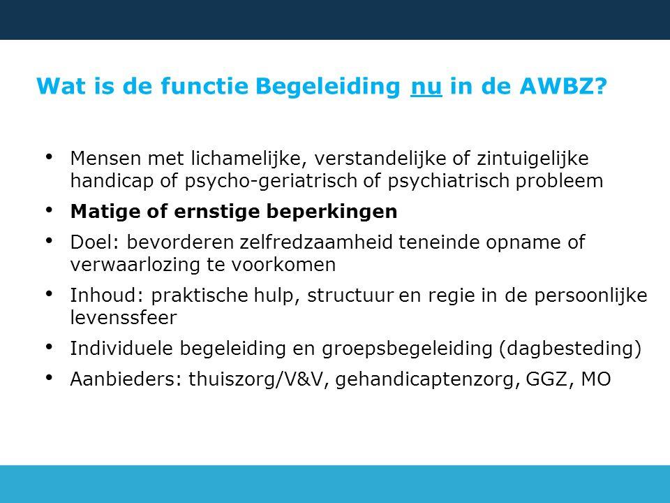 Wat is de functie Begeleiding nu in de AWBZ? Mensen met lichamelijke, verstandelijke of zintuigelijke handicap of psycho-geriatrisch of psychiatrisch