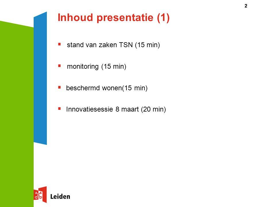 Inhoud presentatie (1)  stand van zaken TSN (15 min)  monitoring (15 min)  beschermd wonen(15 min)  Innovatiesessie 8 maart (20 min) 22