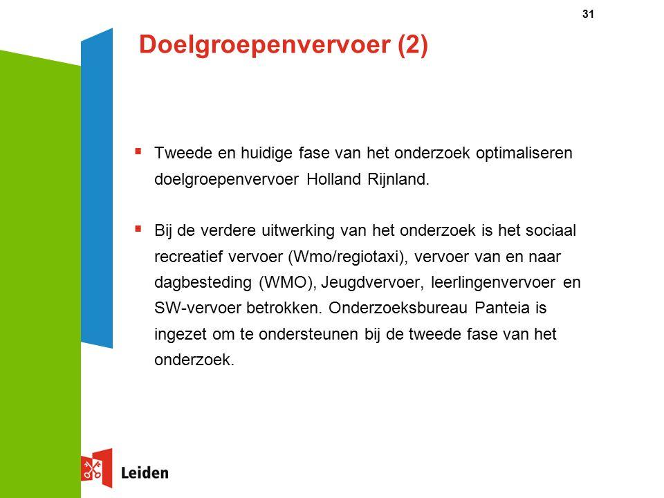 Doelgroepenvervoer (2)  Tweede en huidige fase van het onderzoek optimaliseren doelgroepenvervoer Holland Rijnland.