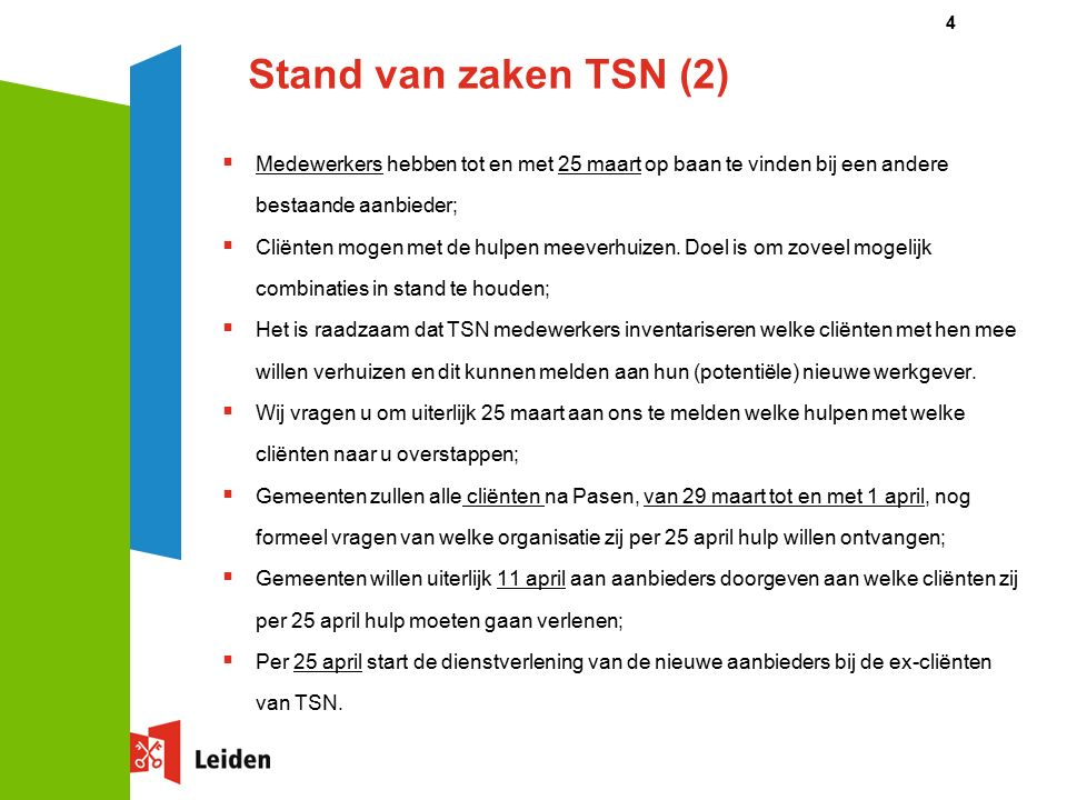 Stand van zaken TSN (2)  Medewerkers hebben tot en met 25 maart op baan te vinden bij een andere bestaande aanbieder;  Cliënten mogen met de hulpen meeverhuizen.