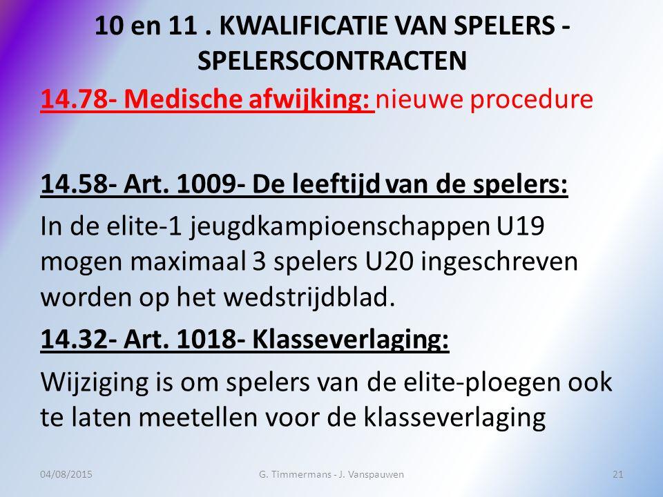 10 en 11. KWALIFICATIE VAN SPELERS - SPELERSCONTRACTEN 14.78- Medische afwijking: nieuwe procedure 14.58- Art. 1009- De leeftijd van de spelers: In de