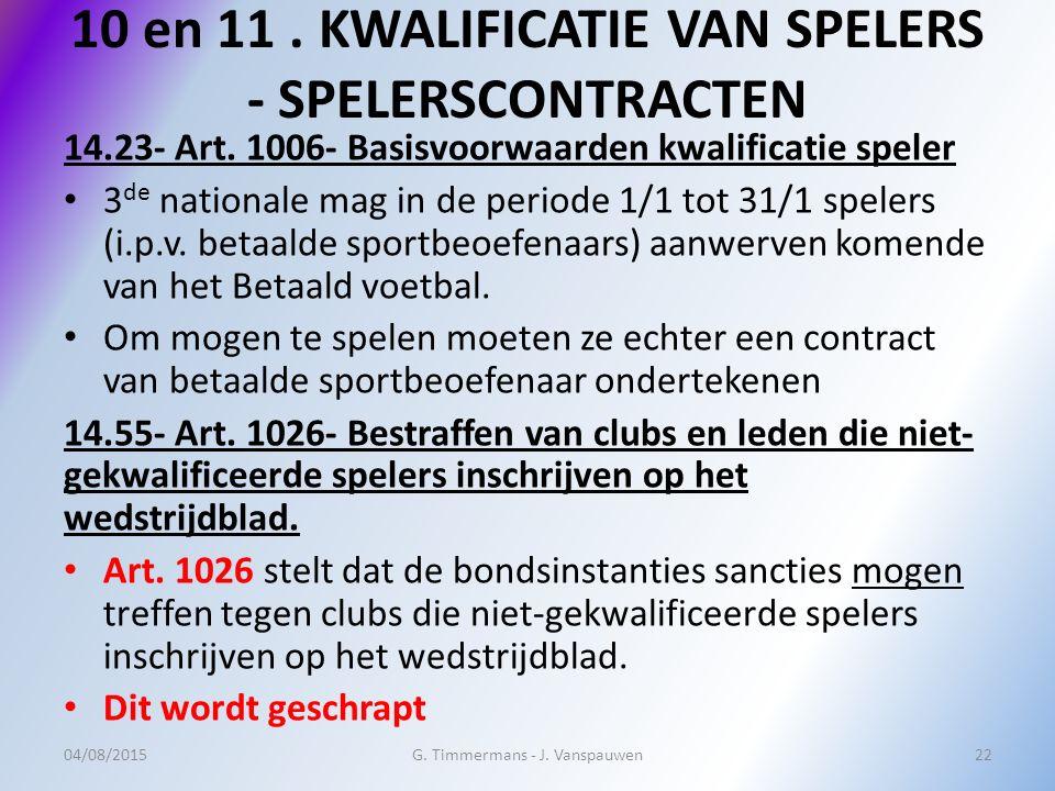 10 en 11. KWALIFICATIE VAN SPELERS - SPELERSCONTRACTEN 14.23- Art. 1006- Basisvoorwaarden kwalificatie speler 3 de nationale mag in de periode 1/1 tot