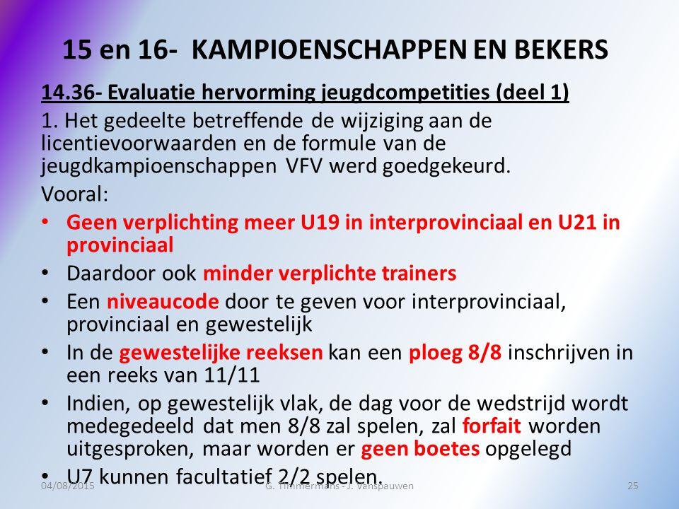 15 en 16- KAMPIOENSCHAPPEN EN BEKERS 14.36- Evaluatie hervorming jeugdcompetities (deel 1) 1. Het gedeelte betreffende de wijziging aan de licentievoo
