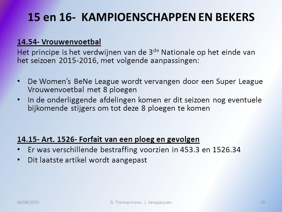 15 en 16- KAMPIOENSCHAPPEN EN BEKERS 14.54- Vrouwenvoetbal Het principe is het verdwijnen van de 3 de Nationale op het einde van het seizoen 2015-2016
