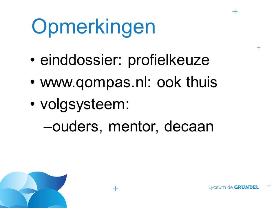 Opmerkingen einddossier: profielkeuze www.qompas.nl: ook thuis volgsysteem: –ouders, mentor, decaan