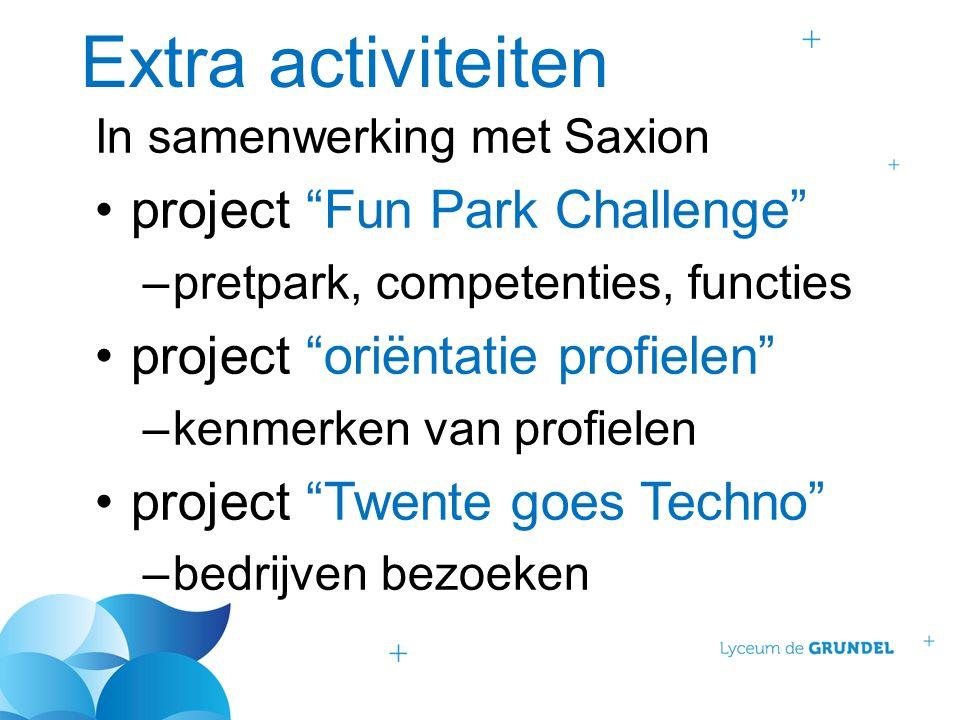 Extra activiteiten In samenwerking met Saxion project Fun Park Challenge –pretpark, competenties, functies project oriëntatie profielen –kenmerken van profielen project Twente goes Techno –bedrijven bezoeken