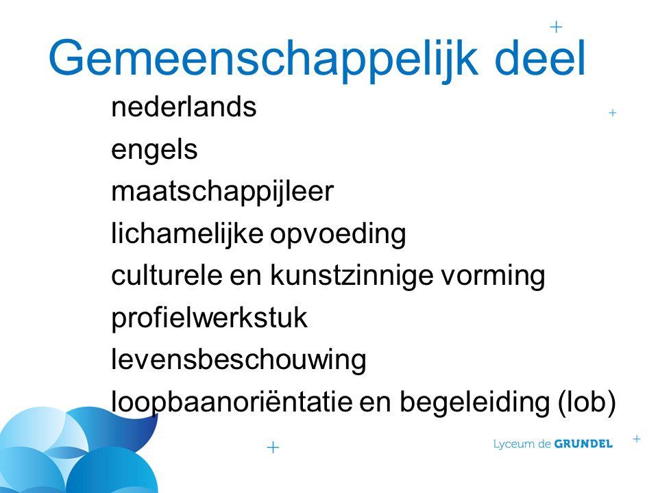 Gemeenschappelijk deel nederlands engels maatschappijleer lichamelijke opvoeding culturele en kunstzinnige vorming profielwerkstuk levensbeschouwing loopbaanoriëntatie en begeleiding (lob)