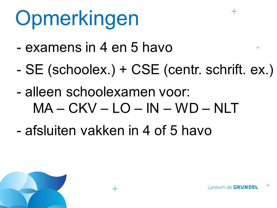 Opmerkingen -examens in 4 en 5 havo -SE (schoolex.) + CSE (centr.