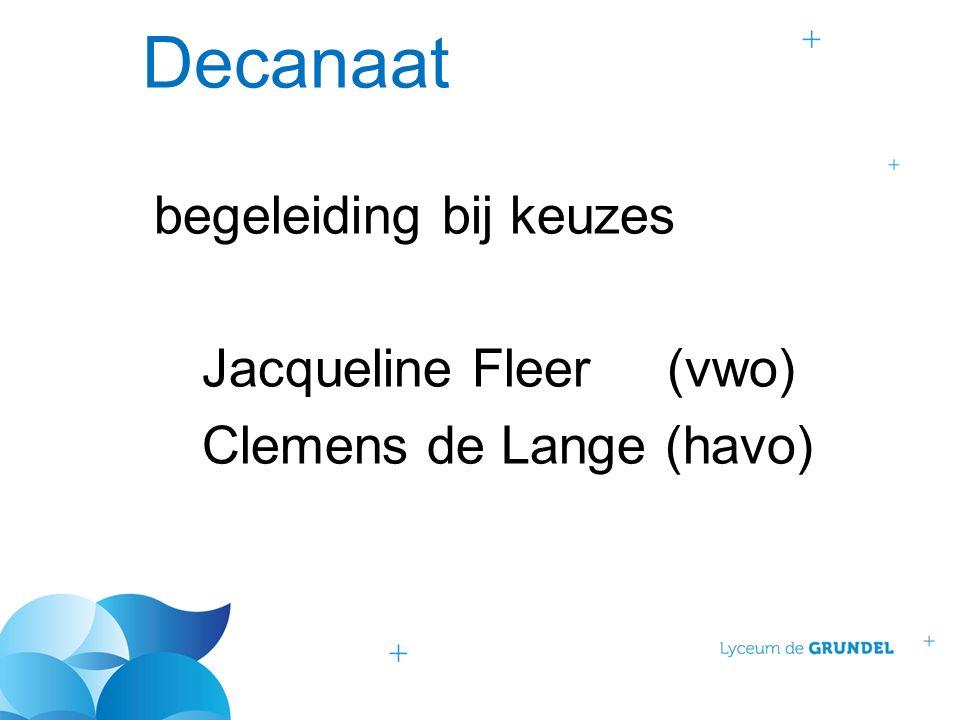 Decanaat begeleiding bij keuzes Jacqueline Fleer (vwo) Clemens de Lange (havo)