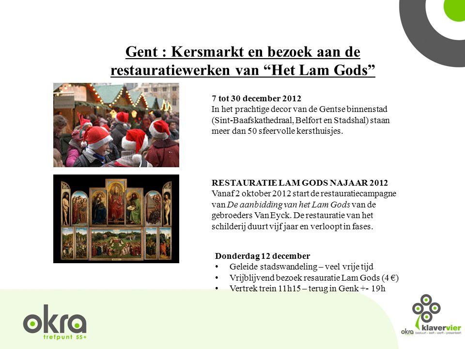 Gent : Kersmarkt en bezoek aan de restauratiewerken van Het Lam Gods 7 tot 30 december 2012 In het prachtige decor van de Gentse binnenstad (Sint-Baafskathedraal, Belfort en Stadshal) staan meer dan 50 sfeervolle kersthuisjes.