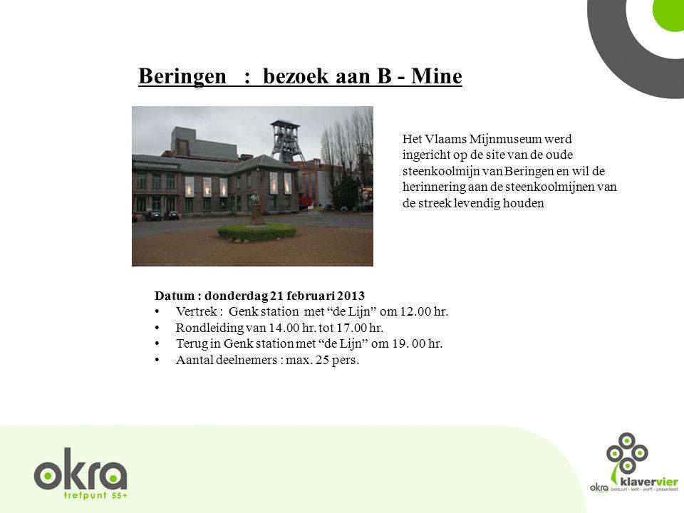 Beringen : bezoek aan B - Mine Het Vlaams Mijnmuseum werd ingericht op de site van de oude steenkoolmijn van Beringen en wil de herinnering aan de steenkoolmijnen van de streek levendig houden Datum : donderdag 21 februari 2013 Vertrek : Genk station met de Lijn om 12.00 hr.