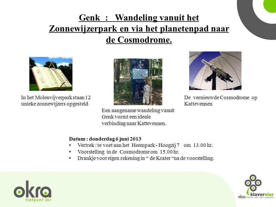 Genk : Wandeling vanuit het Zonnewijzerpark en via het planetenpad naar de Cosmodrome.