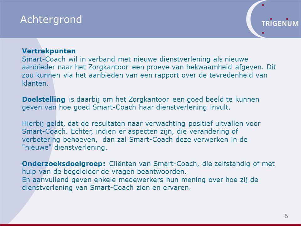 6 Achtergrond Vertrekpunten Smart-Coach wil in verband met nieuwe dienstverlening als nieuwe aanbieder naar het Zorgkantoor een proeve van bekwaamheid afgeven.