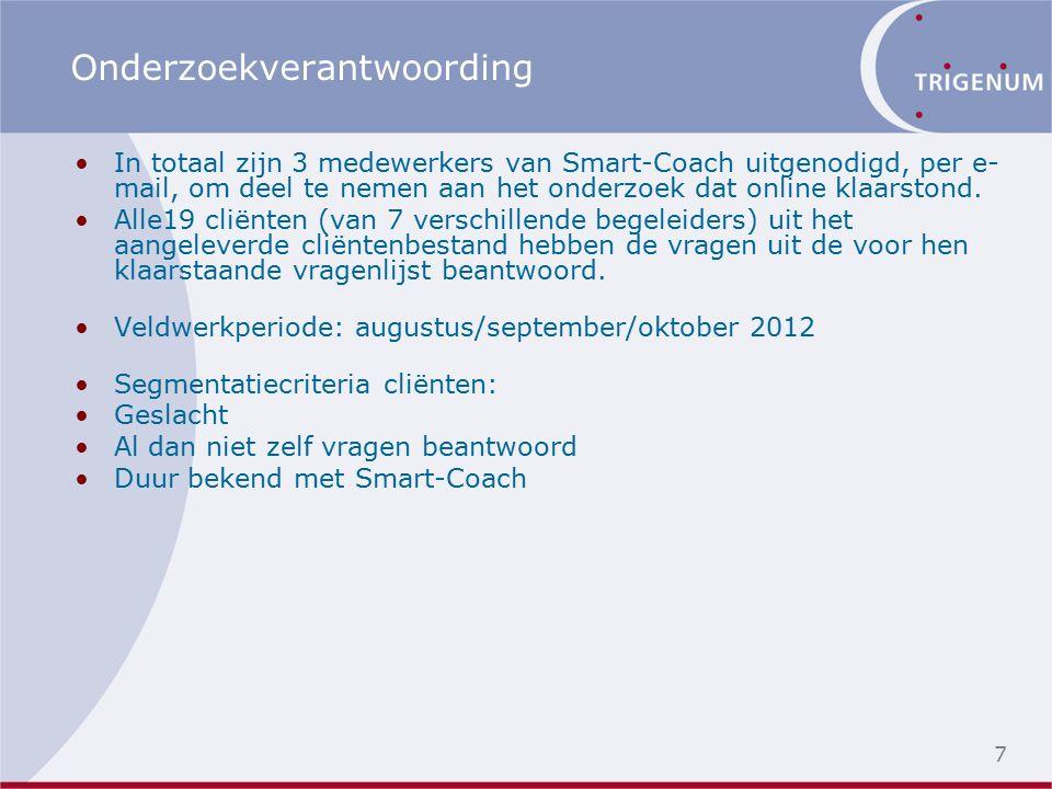 7 Onderzoekverantwoording In totaal zijn 3 medewerkers van Smart-Coach uitgenodigd, per e- mail, om deel te nemen aan het onderzoek dat online klaarstond.