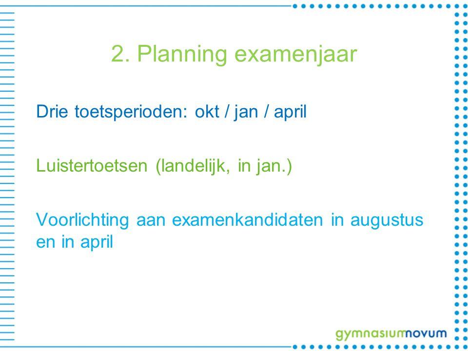 2. Planning examenjaar Drie toetsperioden: okt / jan / april Luistertoetsen (landelijk, in jan.) Voorlichting aan examenkandidaten in augustus en in a