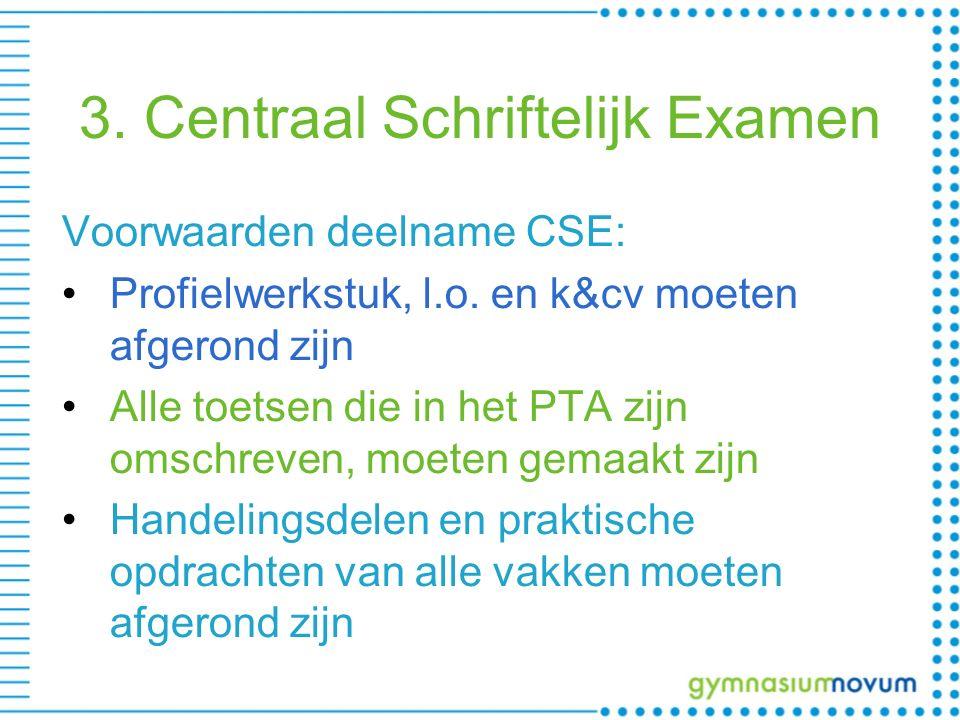 3. Centraal Schriftelijk Examen Voorwaarden deelname CSE: Profielwerkstuk, l.o.