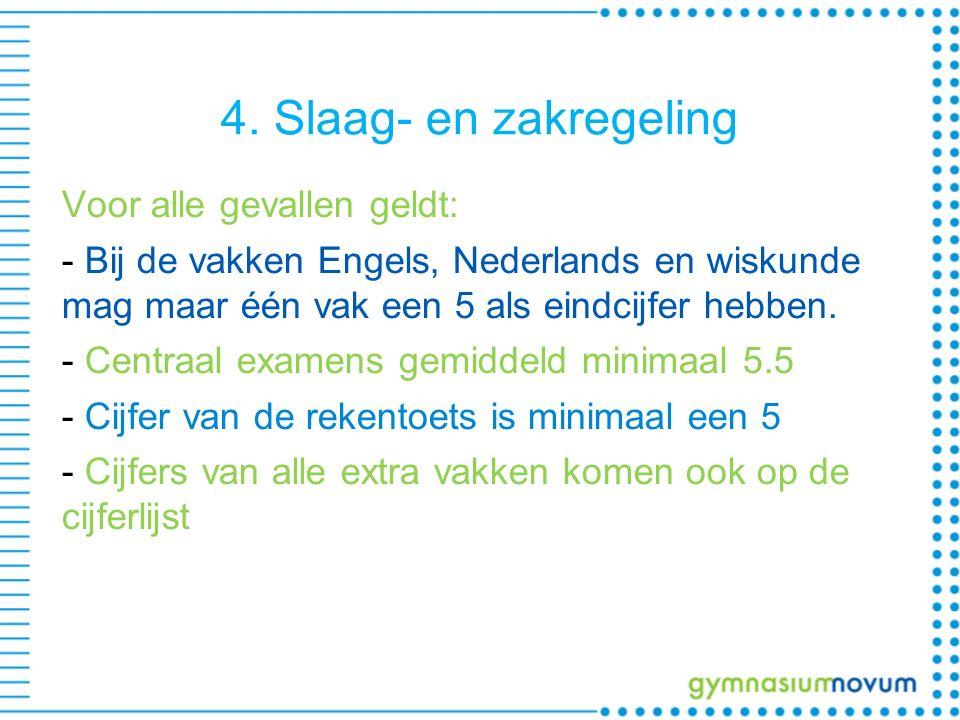 4. Slaag- en zakregeling Voor alle gevallen geldt: - Bij de vakken Engels, Nederlands en wiskunde mag maar één vak een 5 als eindcijfer hebben. - Cent