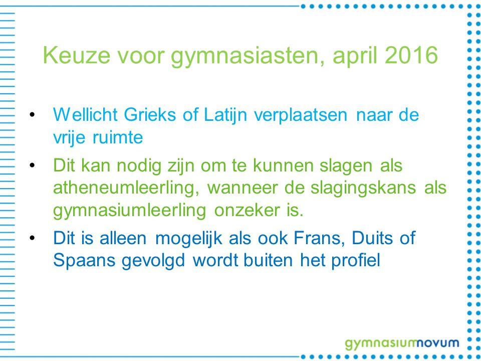 Keuze voor gymnasiasten, april 2016 Wellicht Grieks of Latijn verplaatsen naar de vrije ruimte Dit kan nodig zijn om te kunnen slagen als atheneumleerling, wanneer de slagingskans als gymnasiumleerling onzeker is.