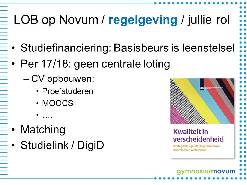 Studiefinanciering: Basisbeurs is leenstelsel Per 17/18: geen centrale loting –CV opbouwen: Proefstuderen MOOCS ….