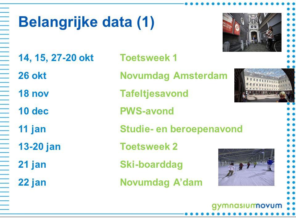 Belangrijke data (1) 14, 15, 27-20 oktToetsweek 1 26 oktNovumdag Amsterdam 18 novTafeltjesavond 10 decPWS-avond 11 janStudie- en beroepenavond 13-20 janToetsweek 2 21 janSki-boarddag 22 janNovumdag A'dam