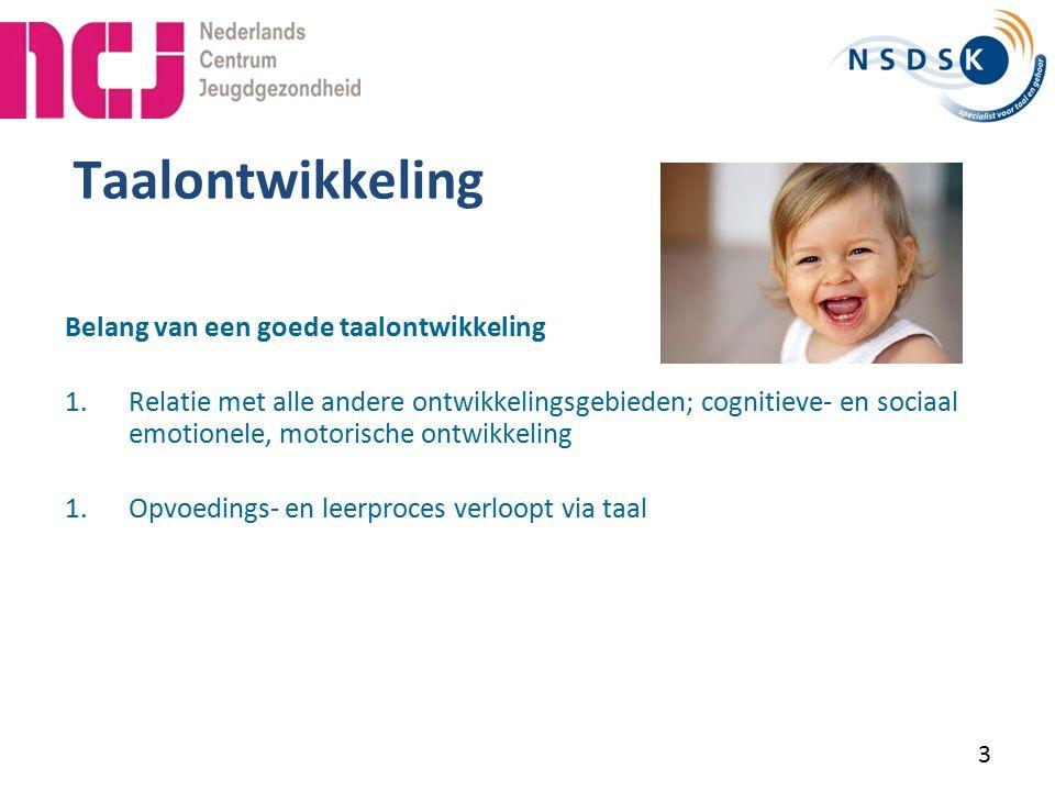 44 Afname bij 24 maanden verrijkt Van Wiechen De punten… Als bij beide onderdelen van de spelvraag een goed voorbeeld is gegeven door de ouder krijgt het kind 1 punt.