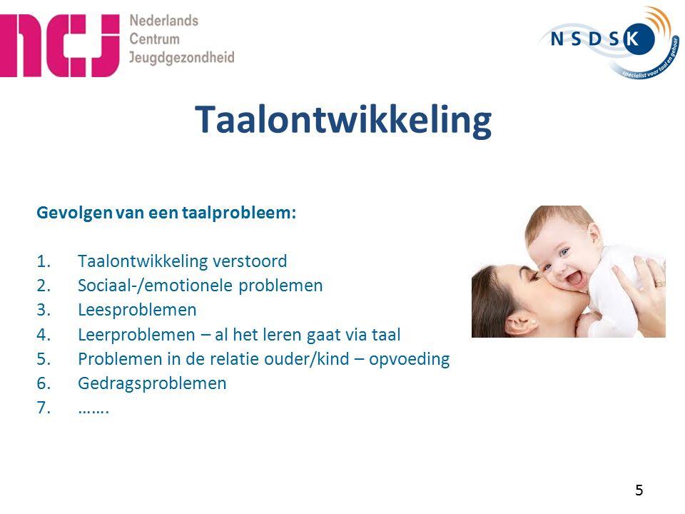 Classificatie Twee soorten taalontwikkelingsstoornissen Specifieke taalontwikkelingsstoornis - specific language impairment (SLI) > in Nederland ook wel ESM kinderen (Ernstige Spraak-/taal Moeilijkheden) een probleem / stoornis in de taalontwikkeling die niet kan worden toegeschreven aan andere problemen Niet specifieke taalontwikkelingsstoornissen - non-specific language impairment (NSLI) een probleem / stooris in de taalontwikkeling kan worden toegeschreven aan andere problemen Onderscheid is nodig omdat oorzaak en behandeling verschillen.