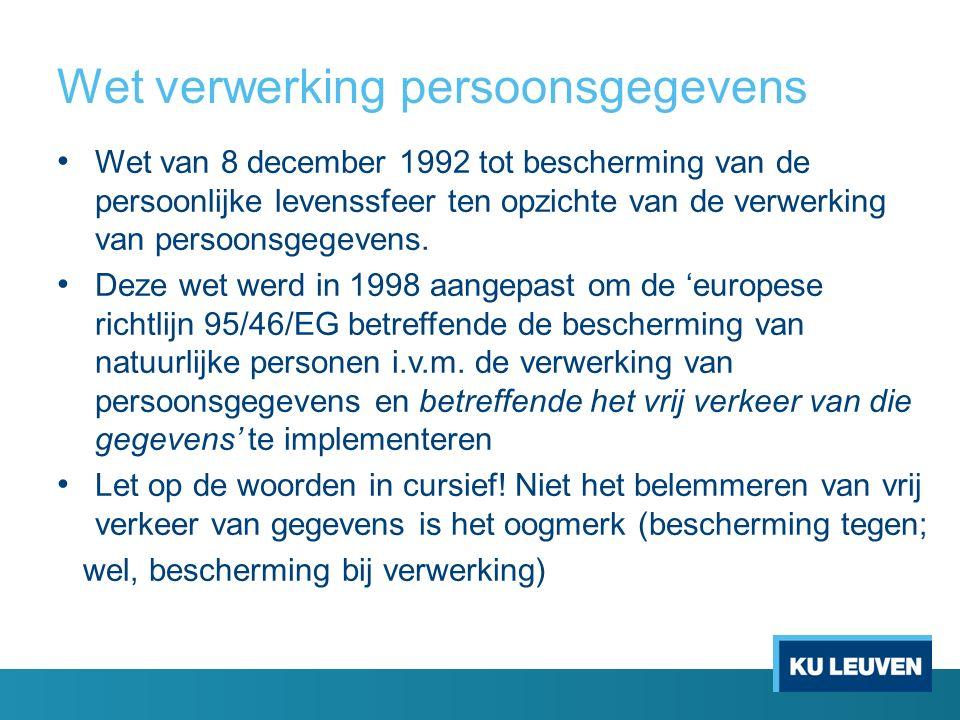 Wet verwerking persoonsgegevens Wet van 8 december 1992 tot bescherming van de persoonlijke levenssfeer ten opzichte van de verwerking van persoonsgegevens.