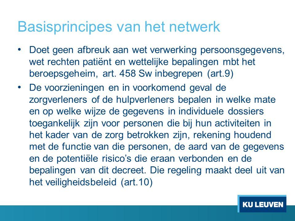 Basisprincipes van het netwerk Doet geen afbreuk aan wet verwerking persoonsgegevens, wet rechten patiënt en wettelijke bepalingen mbt het beroepsgeheim, art.