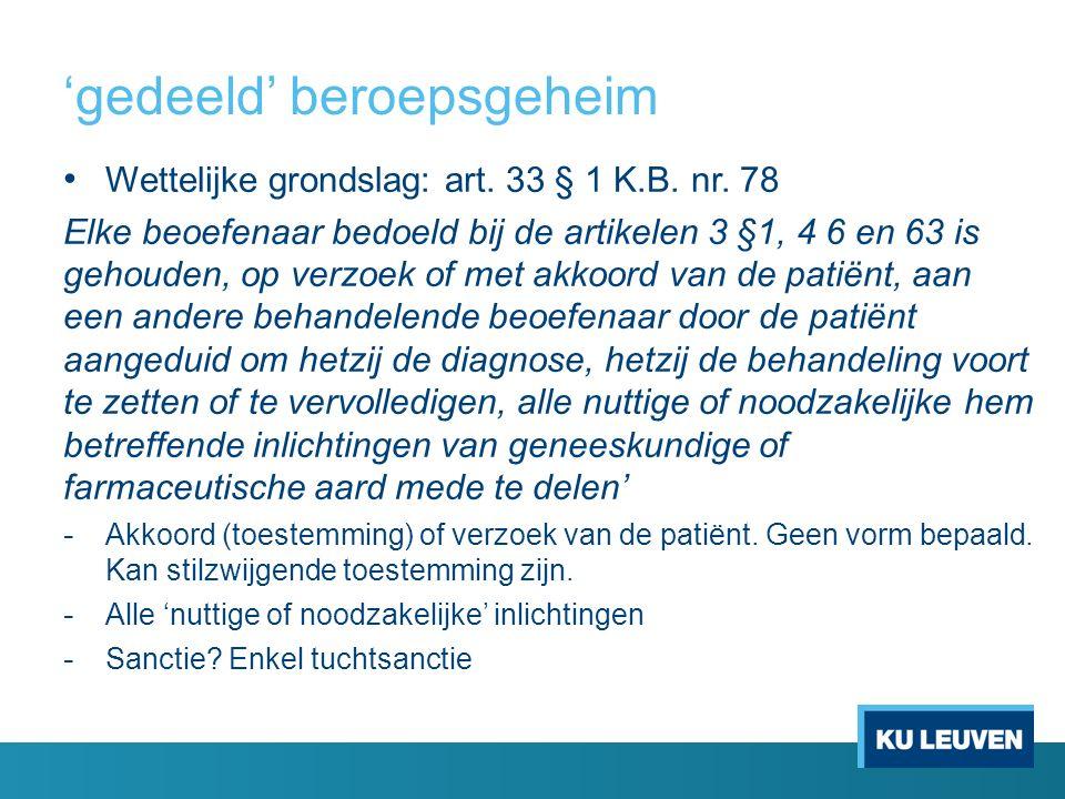 Gedeeld beroepsgeheim Artikel 33 §2 bevat een analoge bepaling voor de beoefenaars van de kinesitherapie Voor de andere K.B.