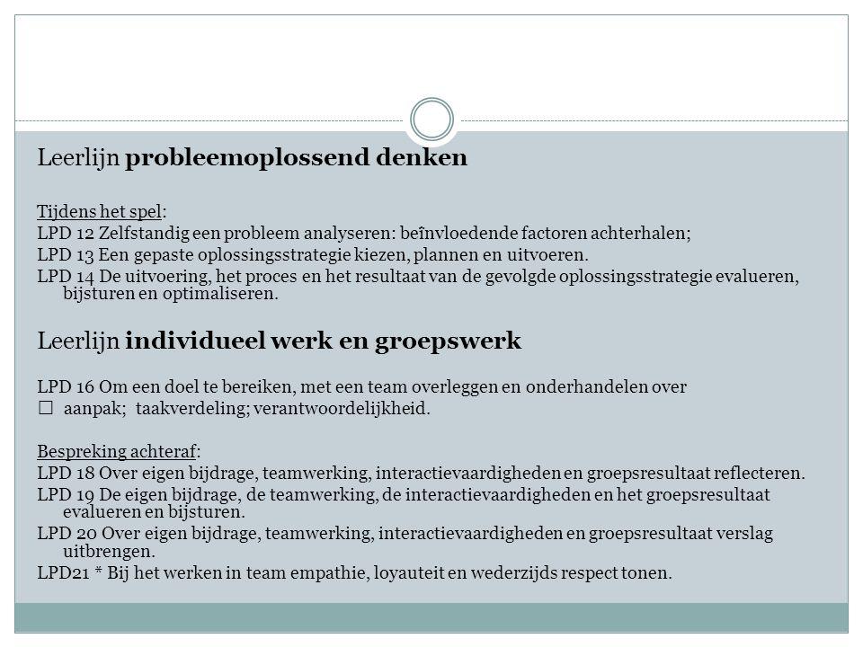 Leerlijn probleemoplossend denken Tijdens het spel: LPD 12 Zelfstandig een probleem analyseren: bei ̈ nvloedende factoren achterhalen; LPD 13 Een gepaste oplossingsstrategie kiezen, plannen en uitvoeren.