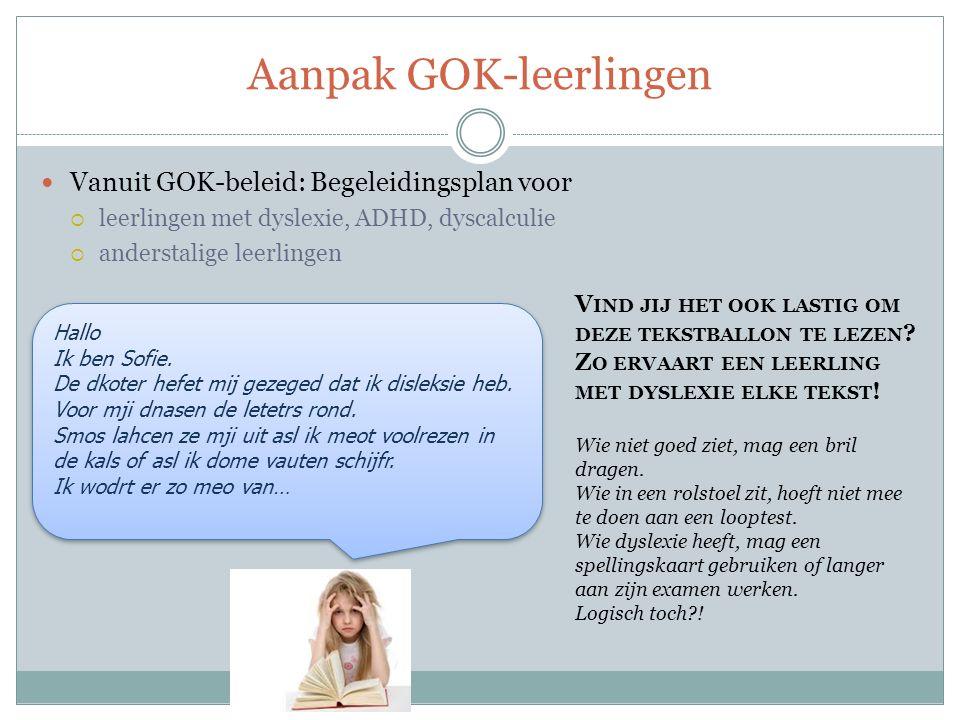 Aanpak GOK-leerlingen Vanuit GOK-beleid: Begeleidingsplan voor  leerlingen met dyslexie, ADHD, dyscalculie  anderstalige leerlingen Hallo Ik ben Sofie.