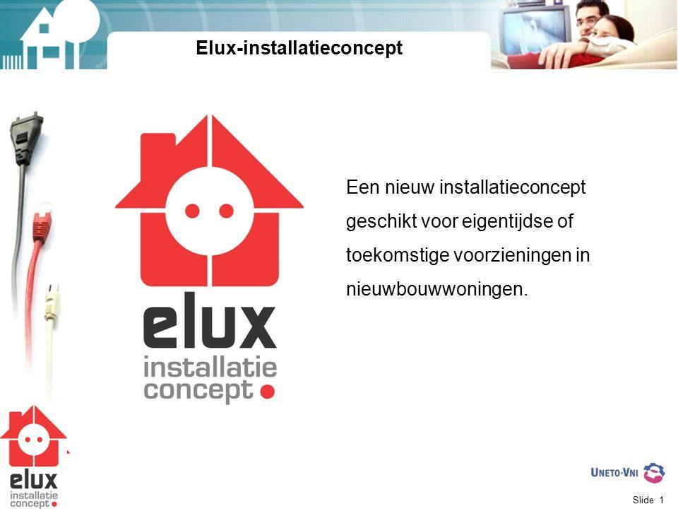 Slide 1 Elux-installatieconcept Een nieuw installatieconcept geschikt voor eigentijdse of toekomstige voorzieningen in nieuwbouwwoningen.