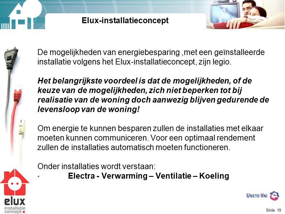 Slide 19 De mogelijkheden van energiebesparing,met een geïnstalleerde installatie volgens het Elux-installatieconcept, zijn legio. Het belangrijkste v
