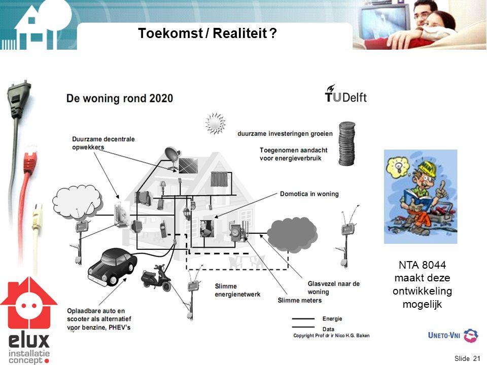 Slide 21 Toekomst / Realiteit ? NTA 8044 maakt deze ontwikkeling mogelijk