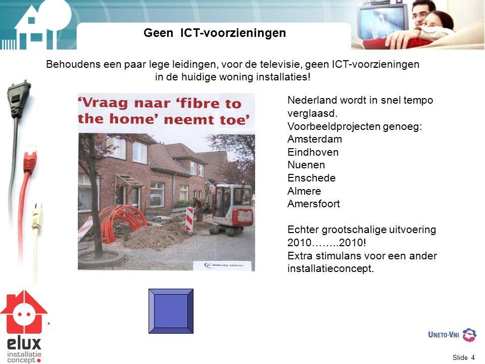 Slide 4 Geen ICT-voorzieningen Nederland wordt in snel tempo verglaasd. Voorbeeldprojecten genoeg: Amsterdam Eindhoven Nuenen Enschede Almere Amersfoo