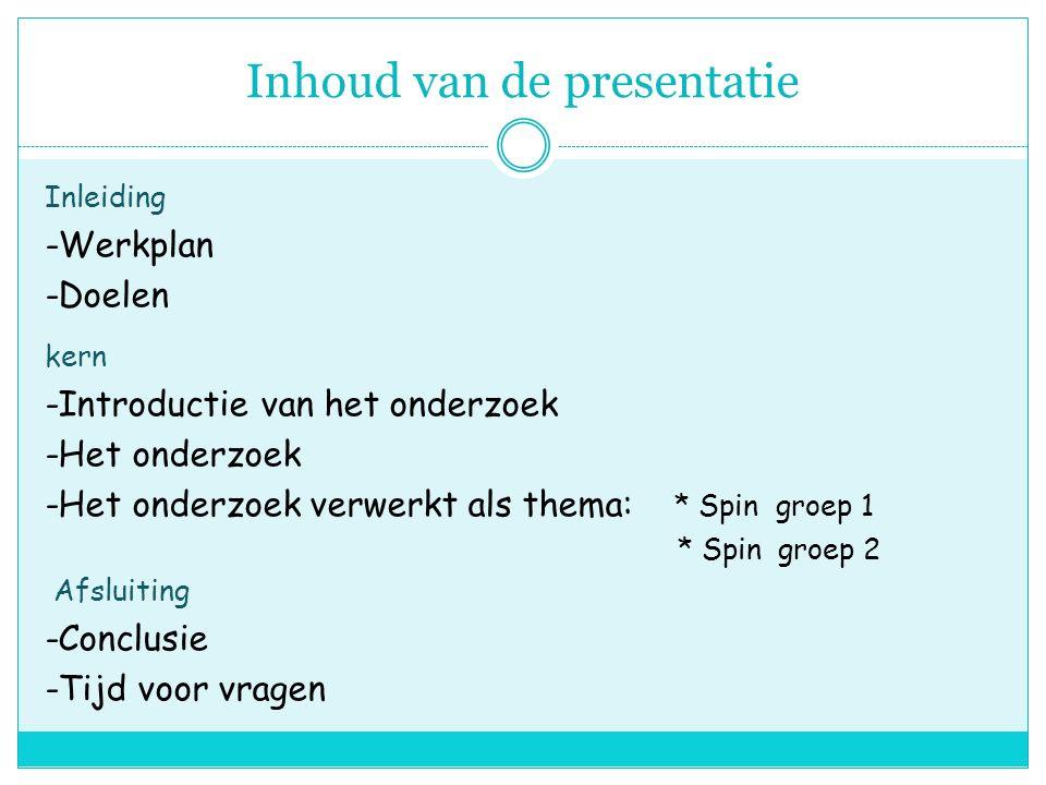 Inhoud van de presentatie Inleiding -Werkplan -Doelen kern -Introductie van het onderzoek -Het onderzoek -Het onderzoek verwerkt als thema: * Spin groep 1 * Spin groep 2 Afsluiting -Conclusie -Tijd voor vragen