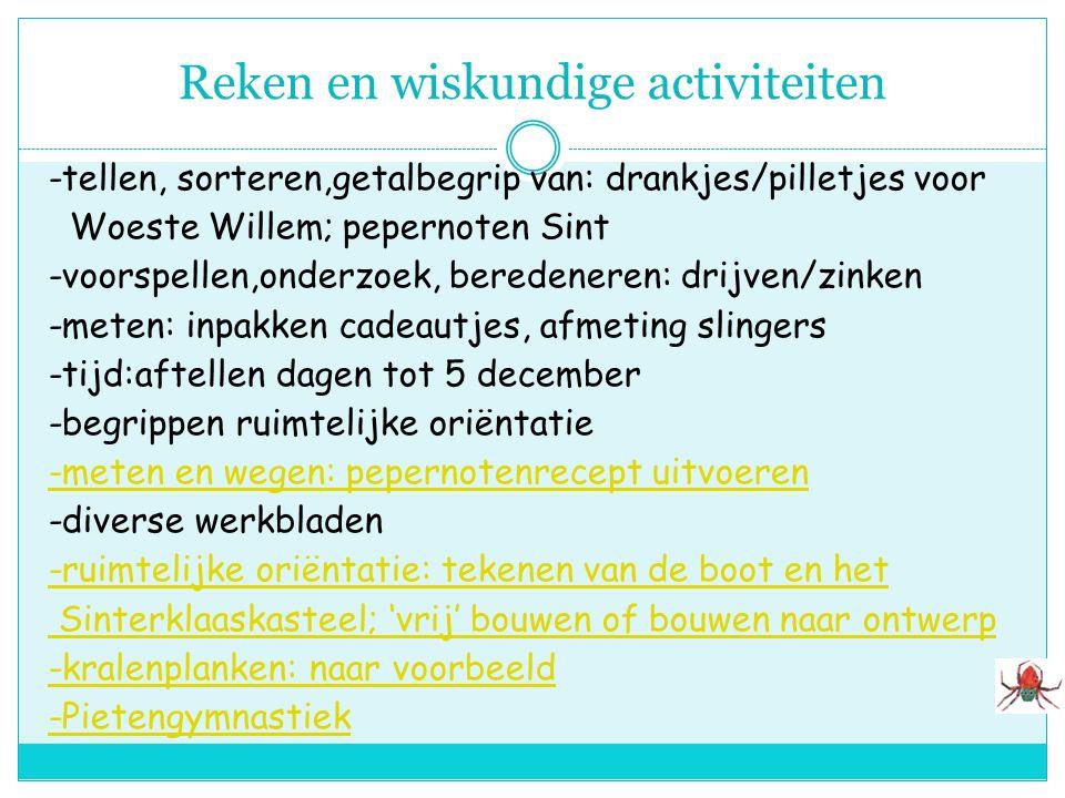 Lees-schrijfactiviteiten -logboek/brieven Woeste Willem/Sint -letterboom: w/m (willem); s/i (sint);p(piet) -woordveld piraten/sinterklaas -tentoonstel