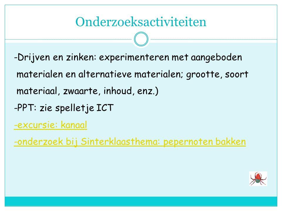 ICT -computerspelletje drijven-zinken: voorspellen en evalueren -Sinterklaasspelletjes -natypen van woordjes uit het woordweb